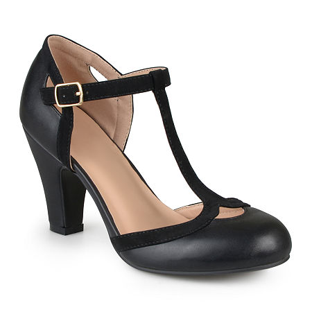 Women's 1920s Shoe Styles and History Journee Collection Womens Olina Pumps 9 Medium Black $48.75 AT vintagedancer.com