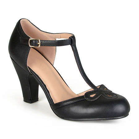 1920s Shoes for UK – T-Bar, Oxfords, Flats Journee Collection Womens Parley Pumps Round Toe 10 Medium Black $45.50 AT vintagedancer.com