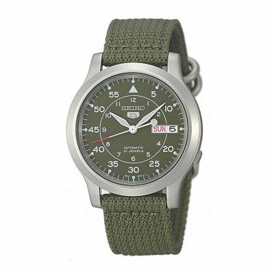 Seiko Mens Green Strap Watch-Snk805