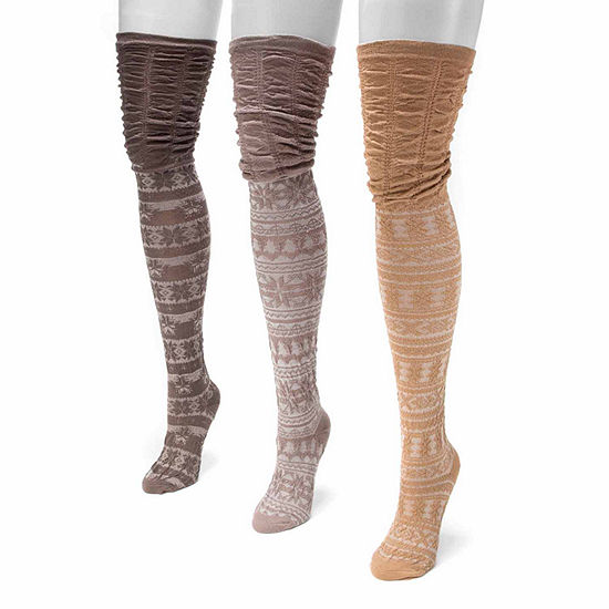 Muk Luks 3 Pair Over the Knee Socks Womens