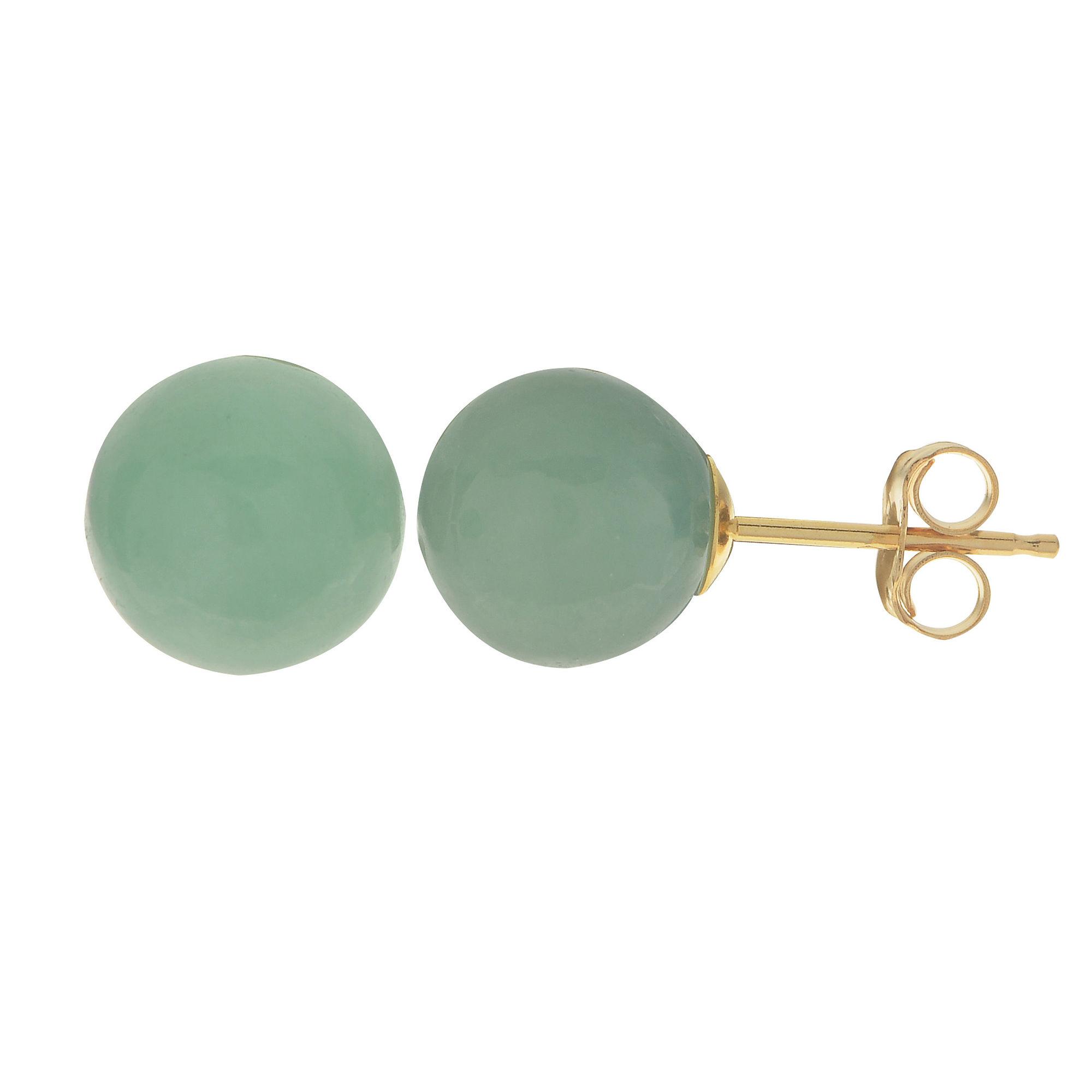 Genuine Jade 14K Yellow Gold Stud Earrings