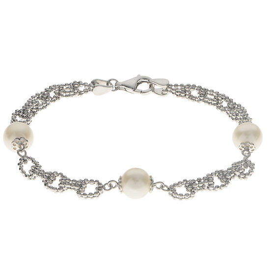 Cultured Freshwater Pearl Sterling Silver Station Chain Bracelet
