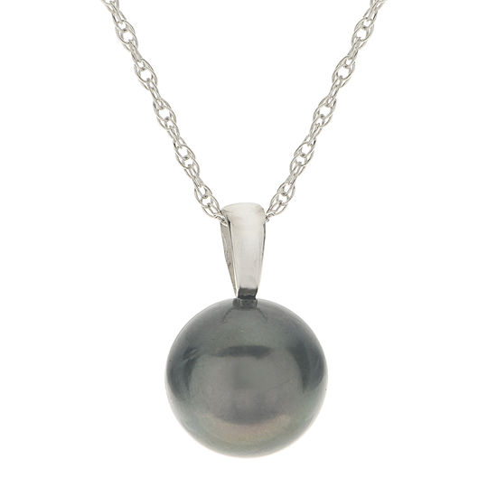 Genuine Tahitian Pearl 14K White Gold Pendant Necklace