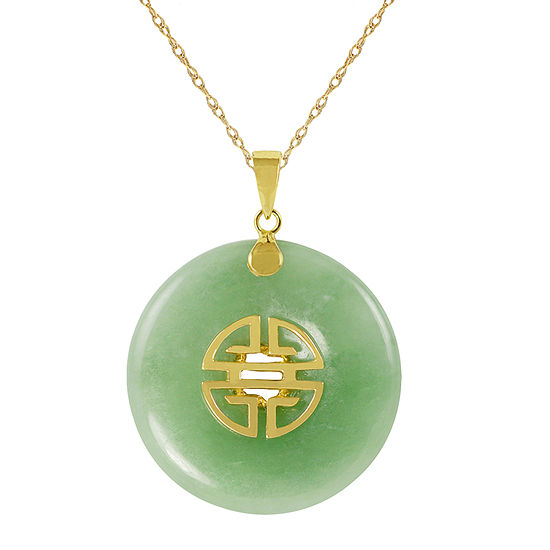 Genuine Jade 10K Yellow Gold Disc Pendant Necklace
