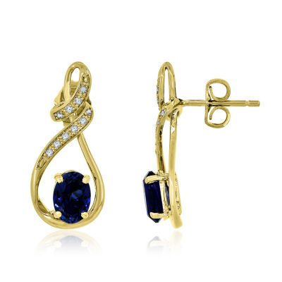 Lab Created Blue & White Sapphire 14K Gold Over Silver Earrings