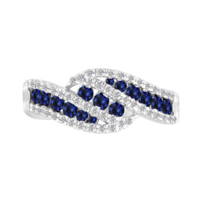 Sterling Silver Lab Created Blue Sapphire & Lab Created White Sapphire Ring