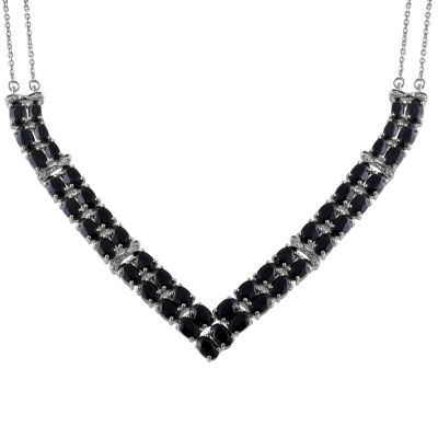 Womens Diamond Accent Genuine Black Sapphire Sterling Silver Chevron Necklaces
