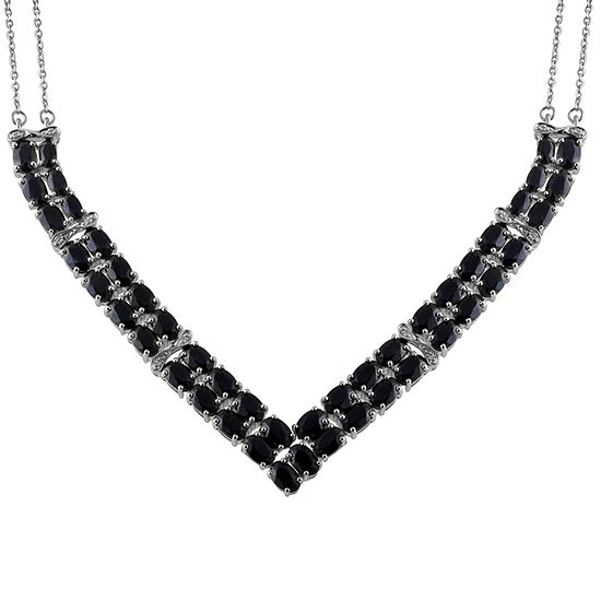 Womens Diamond Accent Genuine Black Sapphire Sterling Silver Chevron Necklaces