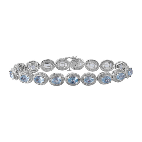Genuine Blue Topaz & Diamond-Accent Sterling Silver Bracelet In Sterling Silver