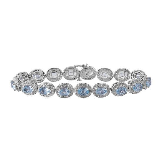 Genuine Blue Topaz & Diamond-Accent Sterling Silver Bracelet In Sterling Silver