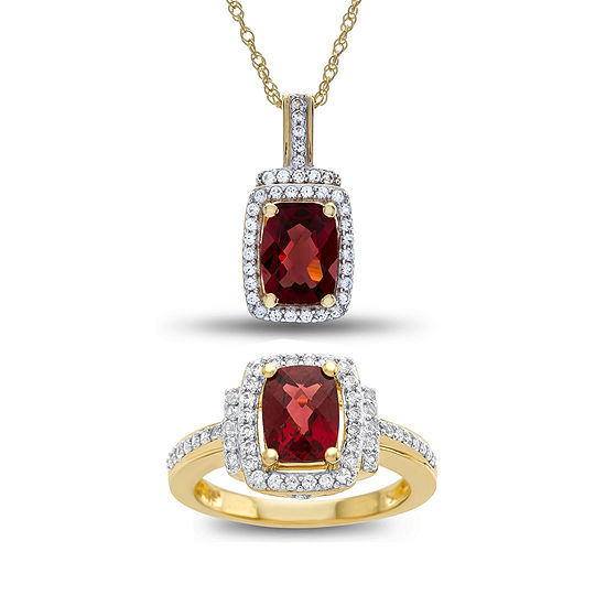 Genuine Garnet & Lab Created White Sapphire 2 Pc.- Boxed Set In 14K Gold Over Silver