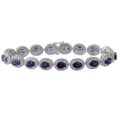 Genuine Amethyst & Diamond-Accent Sterling SilverMilgrain Link Bracelet
