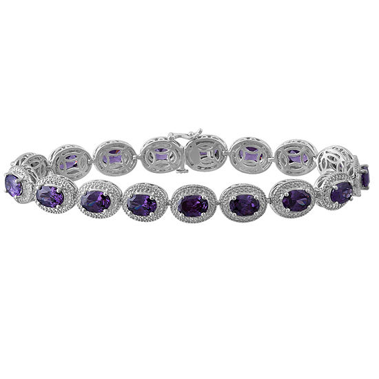 Genuine Amethyst & Diamond-Accent Sterling SilverMilgrain Link Bracelet