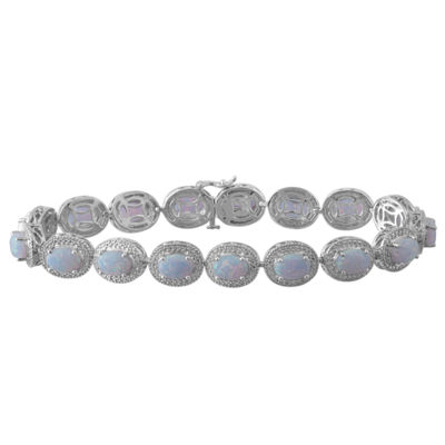 Lab-Created Opal & Diamond-Accent Sterling SilverMilgrain Link Bracelet