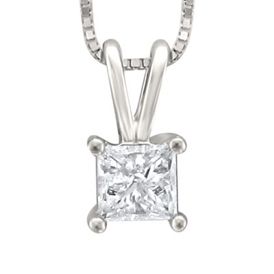 Womens 1/4 CT. T.W. White Diamond 14K Gold Pendant Necklace