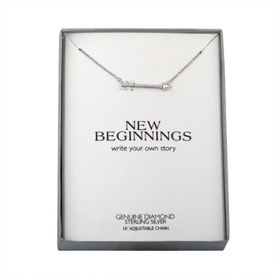 Women's Genuine Diamond Accent Sterling Silver Arrow Pendant Necklace