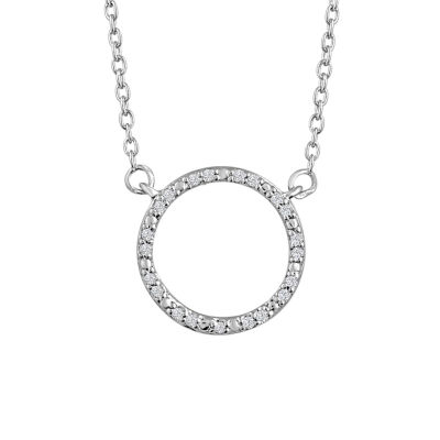 """Karma"" Womens Diamond Accent Genuine White Diamond Sterling Silver Circle Pendant Necklace"