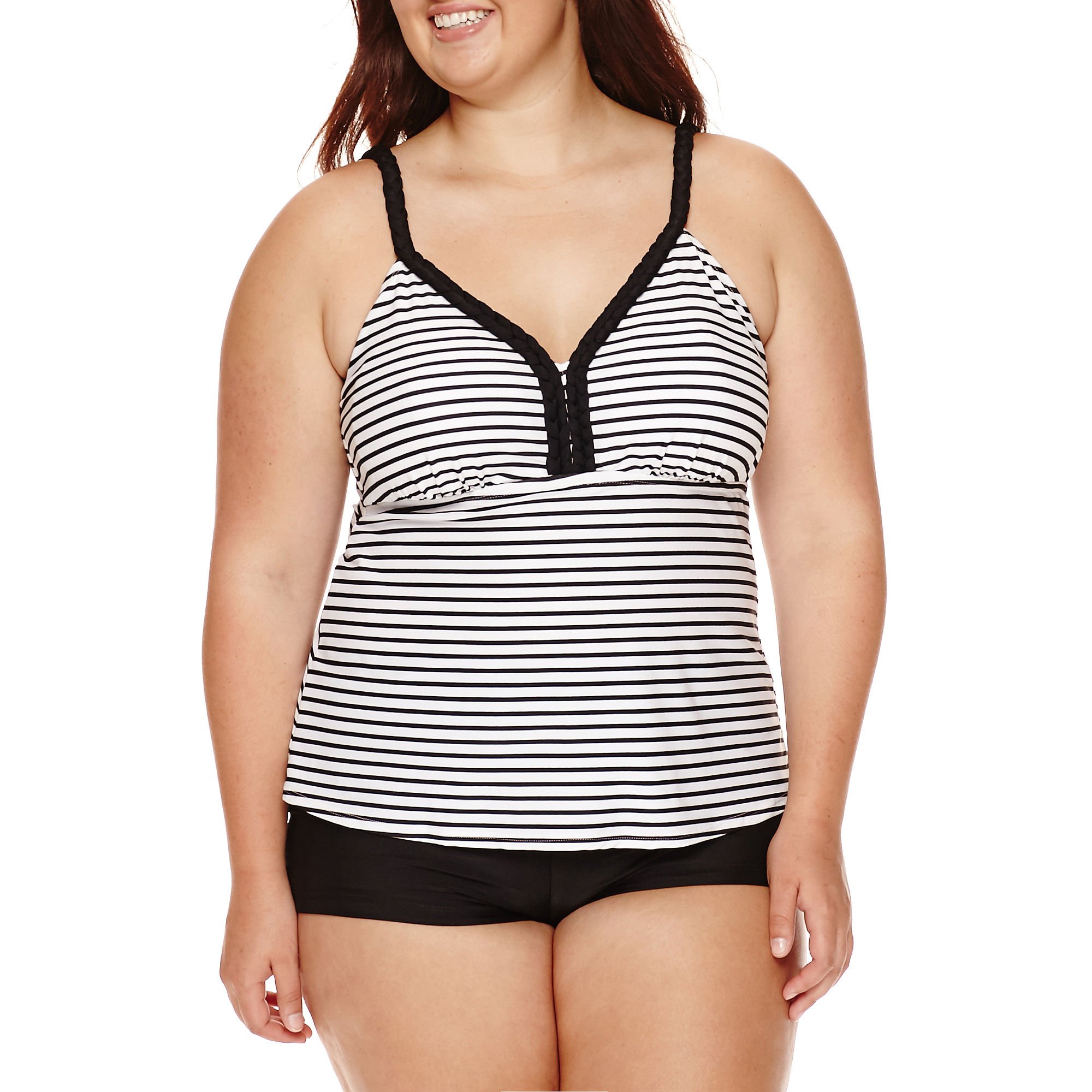 Arizona Summertime Striped Tankini Swim Top - Juniors Plus plus size,  plus size fashion plus size appare