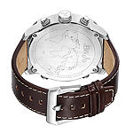 JBW The G4 Mens 1/6 CT. T.W. Diamond Brown Leather Strap Watch J6248LN