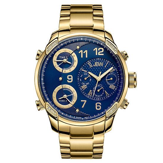 Jbw Mens Goldtone And Blue Diamond Accent Bracelet Watch