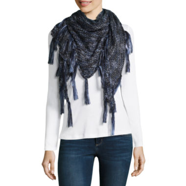 Mixit Shine Triangle Fringe Cold Weather Scarf