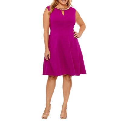 Studio 1 Sleeveless Embellished Fit & Flare Dress-Plus