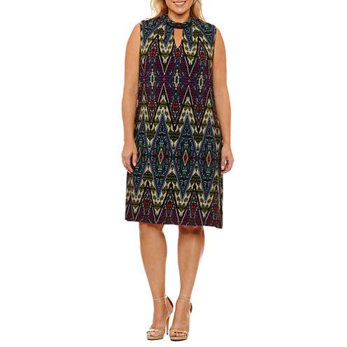 London Times Sleeveless Pattern Sheath Dress-Plus
