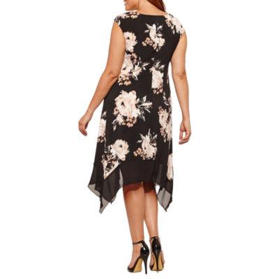 Luxology Short Sleeve Floral Sheath Dress-Plus