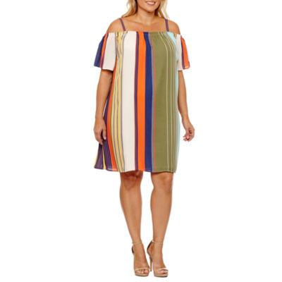 Luxology Short Sleeve Stripe Sheath Dress-Plus