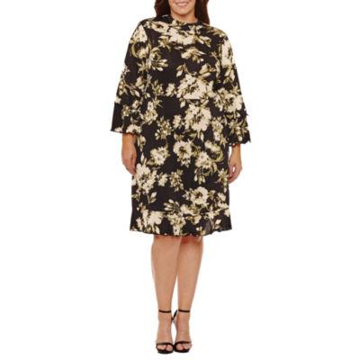 Soho Long Sleeve Empire Waist Dress - Plus