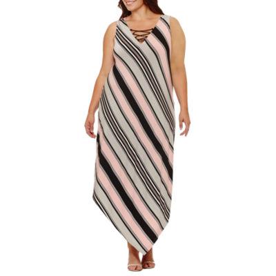 Soho Sleeveless Stripe Maxi Dress-Plus