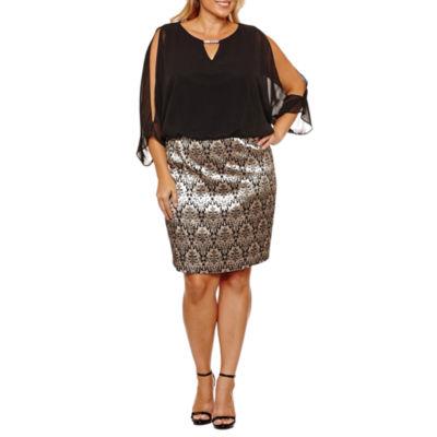 Scarlett 3/4 Sleeve Blouson Dress-Plus