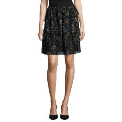 Worthington Womens Lined Short Pleated Skirt Talls