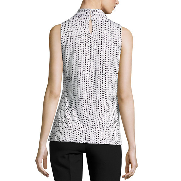 Worthington Sleeveless Twist Neck Knit Diamond Blouse - Tall
