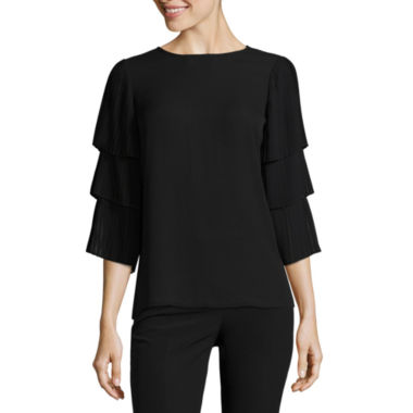 Worthington 3/4 Sleeve Crew Neck Woven Blouse-Talls