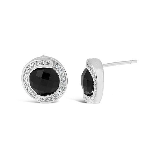 Genuine Black Onyx Sterling Silver 12mm Stud Earrings