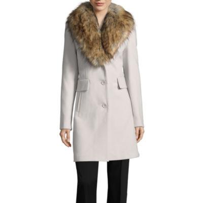 Worthington Faux Fur Trim Coat