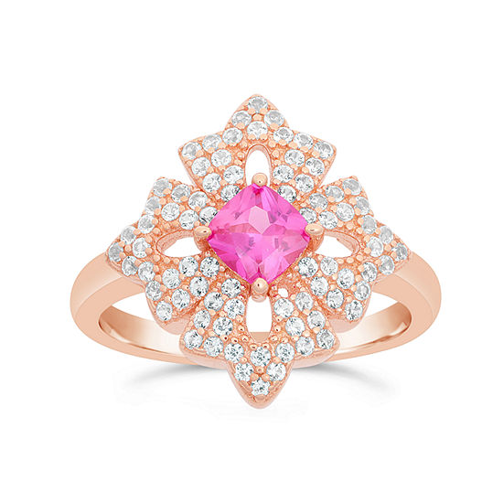 Womens Lab Created Red Ruby 18k Gold Over Silver Flower Cocktail Ring