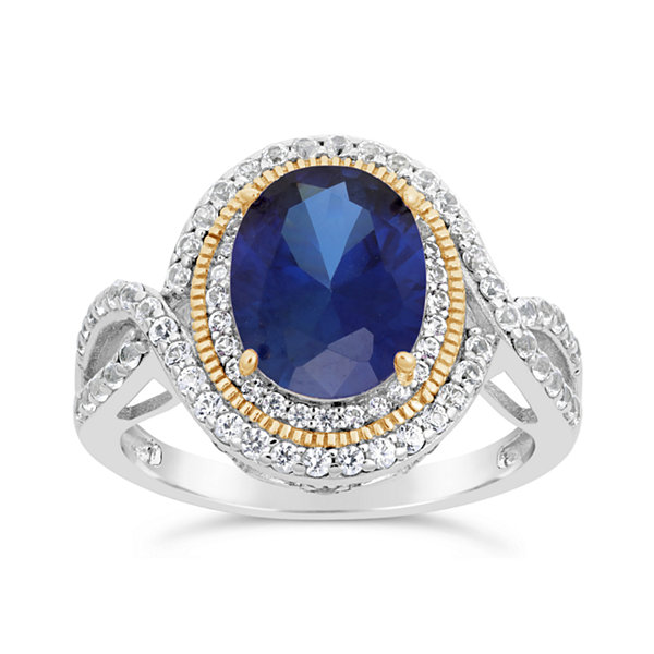Womens Blue Sapphire 18K Gold Over Silver Cocktail Ring