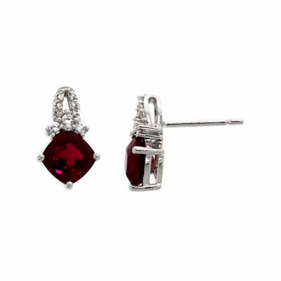 Lab Created Red Ruby Sterling Silver Drop Earrings