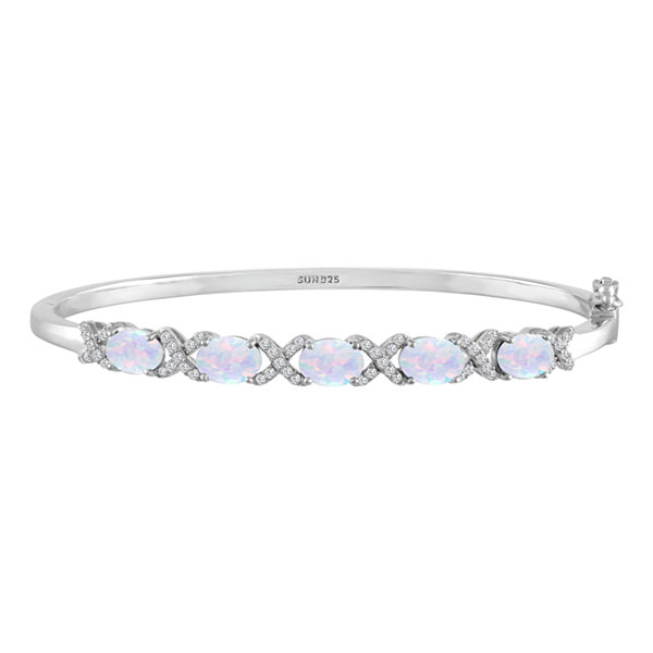 Womens White Opal Sterling Silver Bangle Bracelet