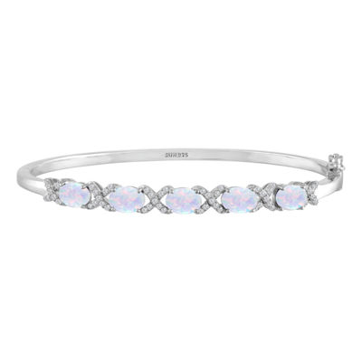 White Opal Sterling Silver Bangle Bracelet