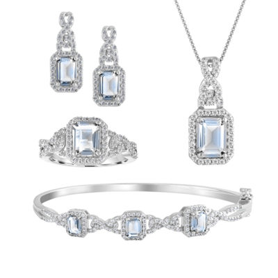 Womens 4-pc. Simulated Aquamarine & Cubic Zirconia Silver Over Brass Jewelry Set