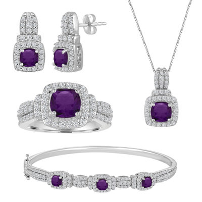 Womens 4-pc. Purple Amethyst Brass Jewelry Set