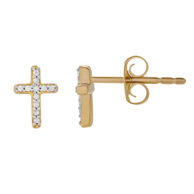 Diamond Accent Genuine White Diamond 10K Gold Stud Earrings