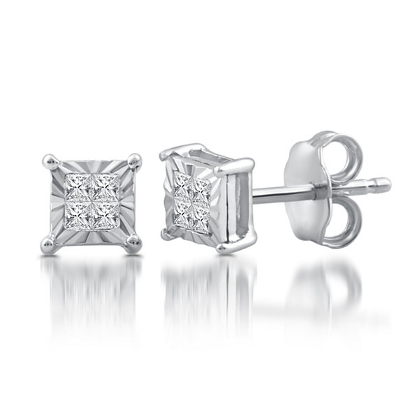 1/10 CT. T.W. Princess White Diamond Sterling Silver Stud Earrings