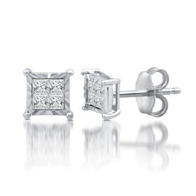 1/4 CT. T.W. Genuine White Diamond Sterling Silver 5.9mm Stud Earrings