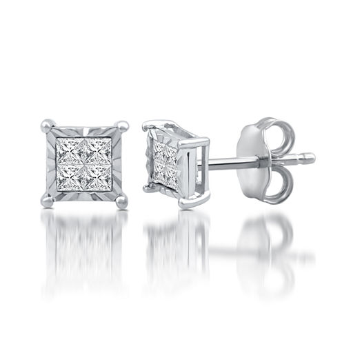 1/4 CT. T.W. Princess White Diamond Sterling Silver Stud Earrings