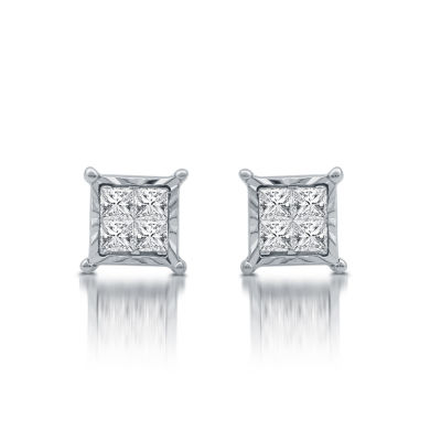 1/3 CT. T.W. Princess White Diamond Sterling Silver Stud Earrings