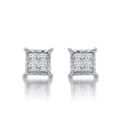 1/3 CT. T.W. Genuine White Diamond Sterling Silver 6.2mm Stud Earrings